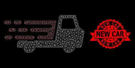 Mesh network delivery car chassi on a black background, and New Car scratched ribbon seal imitation. Red stamp seal has New Car text inside ribbon. Stock Illustratie