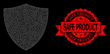 Mesh net protection shield on a black background, and Safe Product rubber ribbon stamp seal. Red seal includes Safe Product caption inside ribbon. Vecteurs
