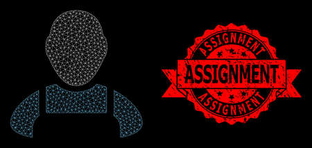 Mesh web worker on a black background, and Assignment corroded ribbon stamp seal. Red stamp seal includes Assignment text inside ribbon. Vector constellation created from worker icon with mesh. Vetores