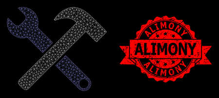 Mesh net service tools on a black background, and Alimony rubber ribbon stamp seal. Red stamp seal contains Alimony title inside ribbon. Vector constellation created from service tools icon with mesh.