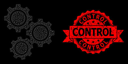 Mesh web gears on a black background, and Control dirty ribbon seal imitation. Red stamp seal includes Control text inside ribbon. Vector constellation created from gears icon with mesh.