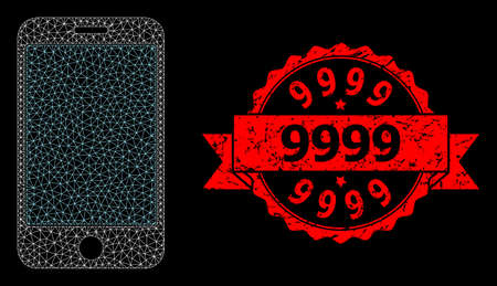 Mesh network phone screen on a black background, and 9999 grunge ribbon seal imitation. Red stamp seal has 9999 caption inside ribbon. Vector constellation created from phone screen icon with mesh.