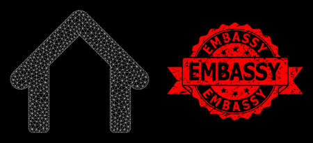 Mesh polygonal garage on a black background, and Embassy unclean ribbon stamp seal. Red stamp includes Embassy text inside ribbon. Vector constellation created from garage icon with triangular net.