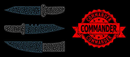 Mesh polygonal knives on a black background, and Commander dirty ribbon stamp seal. Red stamp seal has Commander text inside ribbon. Vector model created from knives icon with mesh.