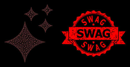 Mesh polygonal shine stars on a black background, and Swag unclean ribbon stamp seal. Red stamp includes Swag caption inside ribbon. Vector model created from shine stars icon with mesh. Çizim