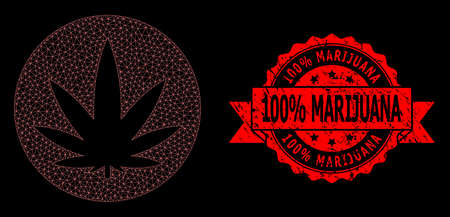 Mesh polygonal medical cannabis on a black background, and 100% Marijuana scratched ribbon seal imitation. Red stamp seal has 100% Marijuana title inside ribbon.