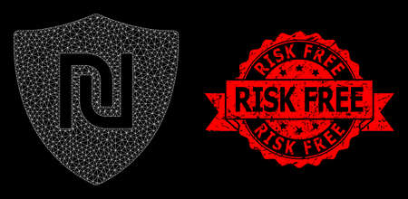 Mesh polygonal shekel guard on a black background, and Risk Free rubber ribbon seal imitation. Red seal has Risk Free title inside ribbon. Vector model created from shekel guard icon with mesh.