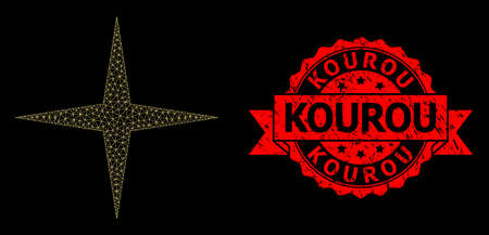 Mesh net space star on a black background, and Kourou rubber ribbon stamp seal. Red stamp seal has Kourou title inside ribbon. Vector constellation created from space star icon with mesh.