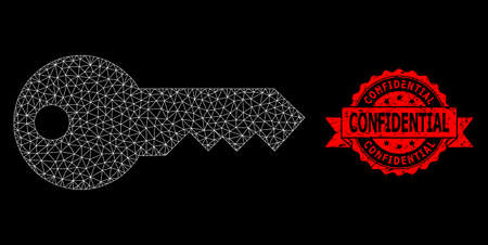 Mesh network key on a black background, and Confidential textured ribbon stamp seal. Red stamp seal contains Confidential title inside ribbon. Vector model created from key icon with mesh. Stock Illustratie