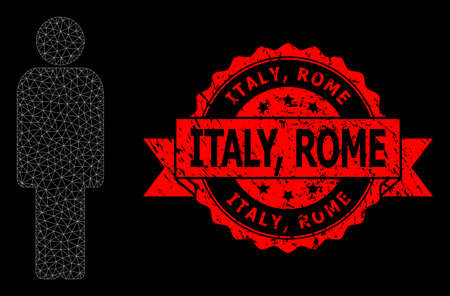 Mesh net person on a black background, and Italy, Rome grunge ribbon stamp seal. Red stamp includes Italy, Rome text inside ribbon. Vector model created from person icon with triangular net.