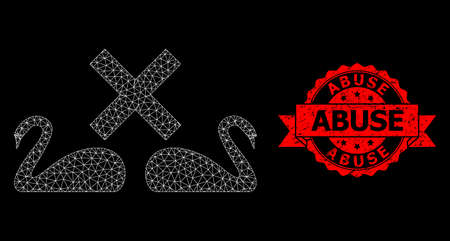 Mesh web divorce swans on a black background, and Abuse grunge ribbon watermark. Red stamp includes Abuse caption inside ribbon. Vector constellation created from divorce swans icon with mesh.