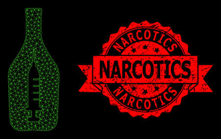 Mesh polygonal narcotic alcohol on a black background, and Narcotics scratched ribbon stamp seal. Red stamp contains Narcotics tag inside ribbon. Çizim