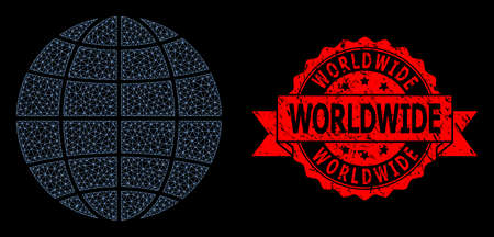 Mesh net globe on a black background, and Worldwide scratched ribbon stamp seal. Red stamp seal includes Worldwide title inside ribbon. Vector model created from globe icon with triangular net. Vektorové ilustrace