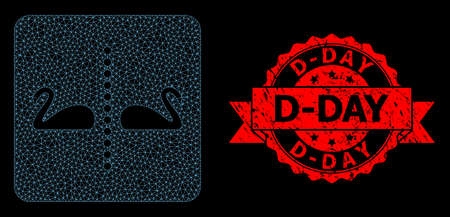 Mesh network separate swans on a black background, and D-Day grunge ribbon seal print. Red seal includes D-Day text inside ribbon. Vector model created from separate swans icon with mesh.
