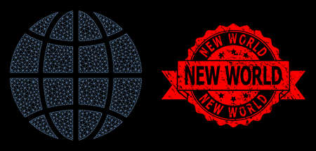 Mesh net globe on a black background, and New World textured ribbon stamp seal. Red stamp seal includes New World caption inside ribbon.