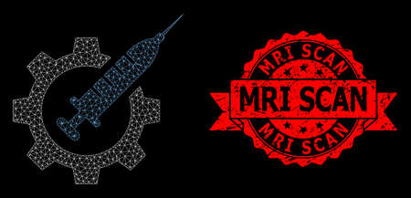 Mesh web vaccine industry on a black background, and MRI Scan scratched ribbon stamp seal. Red stamp seal has MRI Scan title inside ribbon. Vector model created from vaccine industry icon with mesh. Çizim