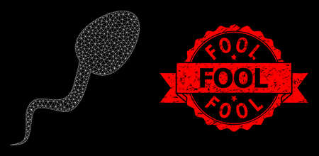 Mesh net sperm cell on a black background, and Fool corroded ribbon stamp seal. Red stamp seal has Fool caption inside ribbon. Vector model created from sperm cell icon with mesh.