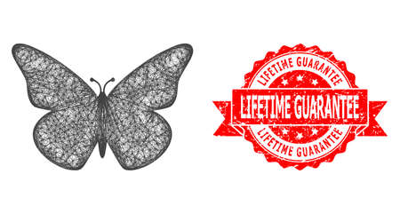 Net butterfly icon, and Lifetime Guarantee dirty ribbon stamp seal. Red stamp seal includes Lifetime Guarantee caption inside ribbon.Geometric linear frame 2D network based on butterfly icon,