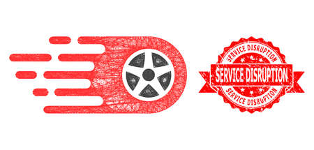 Network bolide wheel icon, and Service Disruption textured ribbon stamp seal. Red stamp seal includes Service Disruption text inside ribbon. Stock Illustratie