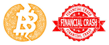 Net broken bitcoin icon, and Financial Crash corroded ribbon stamp. Red stamp seal includes Financial Crash text inside ribbon.Geometric wire frame 2D net based on broken bitcoin icon,
