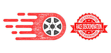 Network bolide wheel icon, and Race Discrimination rubber ribbon stamp seal. Red stamp seal includes Race Discrimination caption inside ribbon. Stock Illustratie