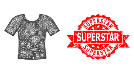 Network dirty t-shirt icon, and Superstar corroded ribbon stamp seal. Red stamp seal contains Superstar tag inside ribbon.Geometric hatched frame flat network based on dirty t-shirt icon,