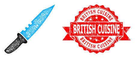 Network knife icon, and British Cuisine textured ribbon stamp seal. Red stamp seal has British Cuisine title inside ribbon.Geometric hatched carcass 2D network based on knife icon,