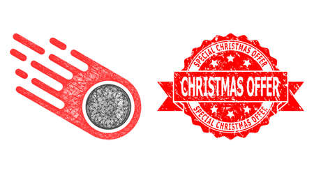 Network falling meteorite icon, and Special Christmas Offer corroded ribbon stamp seal. Red stamp seal has Special Christmas Offer text inside ribbon.