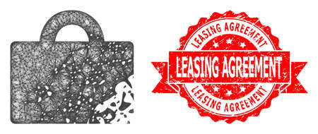 Network damaged luggage icon, and Leasing Agreement textured ribbon stamp seal. Red stamp seal contains Leasing Agreement tag inside ribbon.