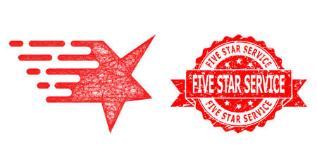 Wire frame star icon, and Five Star Service unclean ribbon stamp. Red stamp seal includes Five Star Service text inside ribbon.Geometric linear frame 2D net based on star icon,