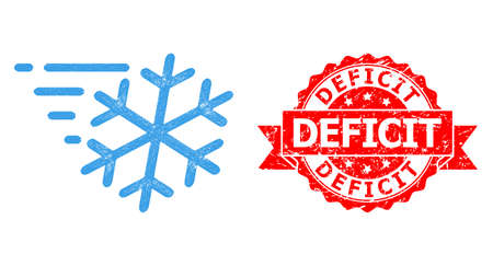 Network frost wind icon, and Deficit scratched ribbon stamp seal. Red stamp seal includes Deficit title inside ribbon.Geometric linear frame flat network based on frost wind icon,