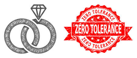 Wire frame jewelry wedding rings icon, and Zero Tolerance grunge ribbon seal imitation. Red stamp seal contains Zero Tolerance tag inside ribbon.