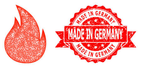 Wire frame fire icon, and Made in Germany rubber ribbon seal print. Red seal contains Made in Germany title inside ribbon.Geometric wire frame 2D net based on fire icon, generated from crossed lines.