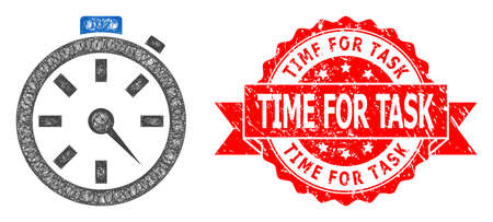 Wire frame timer icon, and Time for Task scratched ribbon stamp seal. Red stamp seal contains Time for Task caption inside ribbon.Geometric linear frame 2D net based on timer icon,