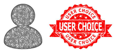 Wire frame user icon, and User Choice unclean ribbon stamp seal. Red stamp includes User Choice caption inside ribbon.Geometric wire frame 2D network based on user icon, generated with crossed lines.