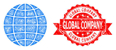 Net globe icon, and Global Company scratched ribbon stamp seal. Red stamp includes Global Company tag inside ribbon.Geometric linear frame flat net based on globe icon,