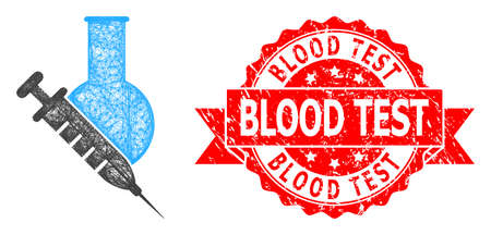 Wire frame vaccine labs icon, and Blood Test textured ribbon stamp seal. Red stamp seal has Blood Test text inside ribbon.Geometric wire carcass 2D net based on vaccine labs icon,