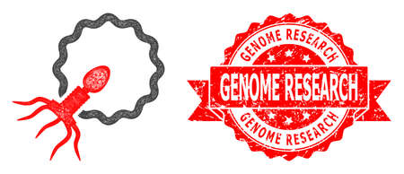Wire frame virus penetrating cell icon, and Genome Research textured ribbon seal print. Red seal includes Genome Research title inside ribbon.
