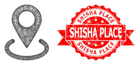 Wire frame location icon, and Shisha Place textured ribbon stamp seal. Red seal contains Shisha Place caption inside ribbon.Geometric wire frame flat network based on location icon,