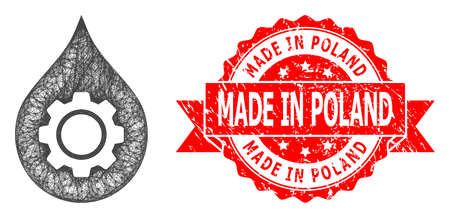 Network oil industry gear icon, and Made in Poland rubber ribbon stamp seal. Red stamp seal includes Made in Poland text inside ribbon.