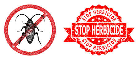 Net forbidden cockroach icon, and Stop Herbicide corroded ribbon stamp seal. Red stamp seal includes Stop Herbicide tag inside ribbon.Geometric wire carcass flat net based on forbidden cockroach icon,