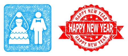 Network wedding couple icon, and Happy New Year grunge ribbon seal print. Red seal contains Happy New Year tag inside ribbon.Geometric hatched carcass flat network based on wedding couple icon, Illusztráció