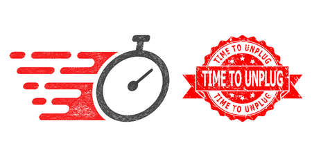 Wire frame time tracker icon, and Time to Unplug unclean ribbon seal imitation. Red stamp seal contains Time to Unplug title inside ribbon.Geometric wire frame 2D net based on time tracker icon, Illusztráció