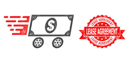 Wire frame dollar delivery wagon icon, and Lease Agreement rubber ribbon seal. Red seal includes Lease Agreement tag inside ribbon.