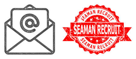 Network open e-mail icon, and Seaman Recruit dirty ribbon stamp seal. Red stamp seal includes Seaman Recruit caption inside ribbon.Geometric linear frame flat network based on open e-mail icon, Illusztráció