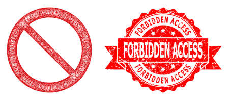 Net forbidden icon, and Forbidden Access corroded ribbon stamp seal. Red stamp seal includes Forbidden Access text inside ribbon.Geometric linear frame flat network based on forbidden icon,
