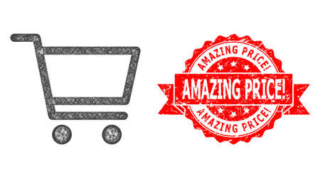 Net shopping cart icon, and Amazing Price! textured ribbon stamp seal. Red stamp seal has Amazing Price! title inside ribbon.Geometric hatched carcass 2D net based on shopping cart icon,