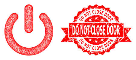 Wire frame turn off icon, and Do Not Close Door unclean ribbon stamp. Red stamp seal includes Do Not Close Door text inside ribbon.Geometric wire carcass 2D net based on turn off icon, Illusztráció