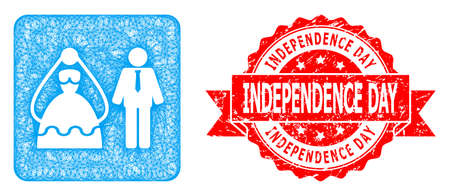 Network marriage persons icon, and Independence Day corroded ribbon seal imitation. Red stamp seal has Independence Day caption inside ribbon.