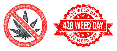 Wire frame forbidden cannabis icon, and 420 Weed Day unclean ribbon seal imitation. Red seal contains 420 Weed Day title inside ribbon.Geometric wire frame 2D network based on forbidden cannabis icon,